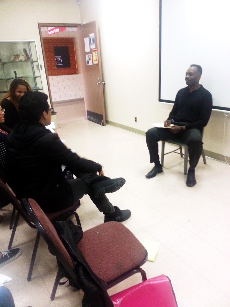 Robert Celestin Speaking to Students (PHOTO BY DOMINIQUE WILLIAMS)